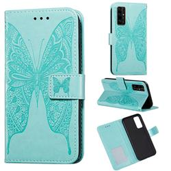 Intricate Embossing Vivid Butterfly Leather Wallet Case for Huawei Honor 30 - Green