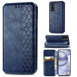Ultra Slim Fashion Business Card Magnetic Automatic Suction Leather Flip Cover for Huawei Honor 30 - Dark Blue