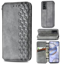 Ultra Slim Fashion Business Card Magnetic Automatic Suction Leather Flip Cover for Huawei Honor 30 - Grey