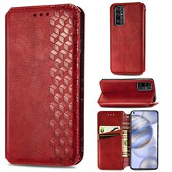 Ultra Slim Fashion Business Card Magnetic Automatic Suction Leather Flip Cover for Huawei Honor 30 - Red