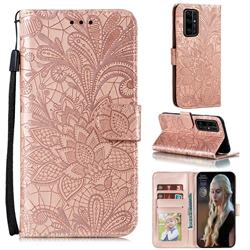 Intricate Embossing Lace Jasmine Flower Leather Wallet Case for Huawei Honor 30 - Rose Gold