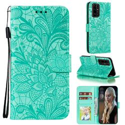 Intricate Embossing Lace Jasmine Flower Leather Wallet Case for Huawei Honor 30 - Green