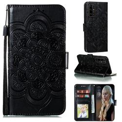 Intricate Embossing Datura Solar Leather Wallet Case for Huawei Honor 30 - Black