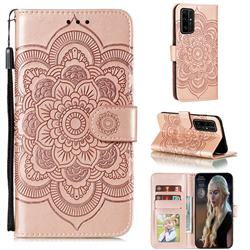 Intricate Embossing Datura Solar Leather Wallet Case for Huawei Honor 30 - Rose Gold