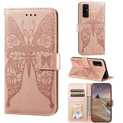 Intricate Embossing Rose Flower Butterfly Leather Wallet Case for Huawei Honor 30 - Rose Gold
