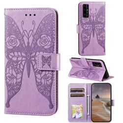 Intricate Embossing Rose Flower Butterfly Leather Wallet Case for Huawei Honor 30 - Purple