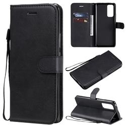 Retro Greek Classic Smooth PU Leather Wallet Phone Case for Huawei Honor 30 Pro - Black