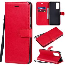 Retro Greek Classic Smooth PU Leather Wallet Phone Case for Huawei Honor 30 Pro - Red