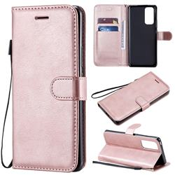 Retro Greek Classic Smooth PU Leather Wallet Phone Case for Huawei Honor 30 Pro - Rose Gold