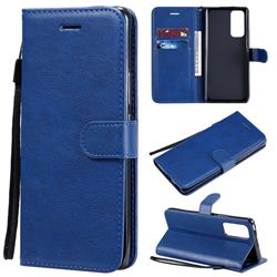 Retro Greek Classic Smooth PU Leather Wallet Phone Case for Huawei Honor 30 Pro - Blue