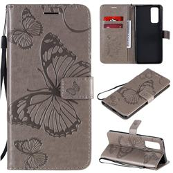 Embossing 3D Butterfly Leather Wallet Case for Huawei Honor 30 Pro - Gray