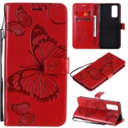 Embossing 3D Butterfly Leather Wallet Case for Huawei Honor 30 Pro - Red
