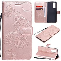 Embossing 3D Butterfly Leather Wallet Case for Huawei Honor 30 Pro - Rose Gold