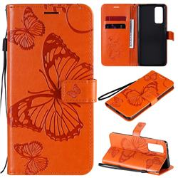Embossing 3D Butterfly Leather Wallet Case for Huawei Honor 30 Pro - Orange