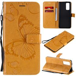 Embossing 3D Butterfly Leather Wallet Case for Huawei Honor 30 Pro - Yellow