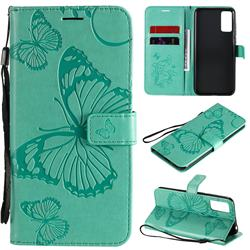 Embossing 3D Butterfly Leather Wallet Case for Huawei Honor 30 Pro - Green