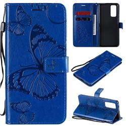 Embossing 3D Butterfly Leather Wallet Case for Huawei Honor 30 Pro - Blue
