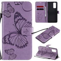 Embossing 3D Butterfly Leather Wallet Case for Huawei Honor 30 Pro - Purple
