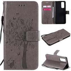 Embossing Butterfly Tree Leather Wallet Case for Huawei Honor 30 Pro - Grey