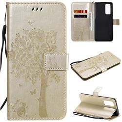 Embossing Butterfly Tree Leather Wallet Case for Huawei Honor 30 Pro - Champagne