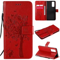 Embossing Butterfly Tree Leather Wallet Case for Huawei Honor 30 Pro - Red