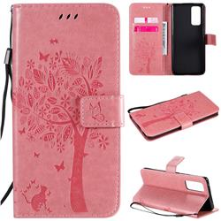 Embossing Butterfly Tree Leather Wallet Case for Huawei Honor 30 Pro - Pink