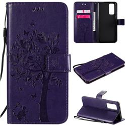 Embossing Butterfly Tree Leather Wallet Case for Huawei Honor 30 Pro - Purple