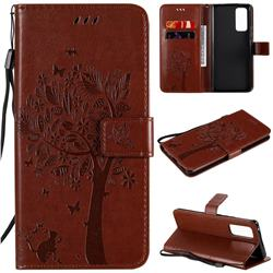 Embossing Butterfly Tree Leather Wallet Case for Huawei Honor 30 Pro - Coffee