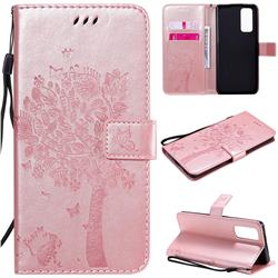 Embossing Butterfly Tree Leather Wallet Case for Huawei Honor 30 Pro - Rose Pink