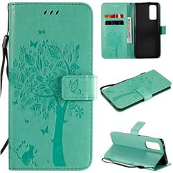 Embossing Butterfly Tree Leather Wallet Case for Huawei Honor 30 Pro - Cyan