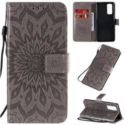 Embossing Sunflower Leather Wallet Case for Huawei Honor 30 Pro - Gray