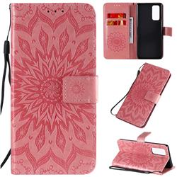 Embossing Sunflower Leather Wallet Case for Huawei Honor 30 Pro - Pink
