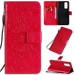 Embossing Sunflower Leather Wallet Case for Huawei Honor 30 Pro - Red
