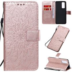 Embossing Sunflower Leather Wallet Case for Huawei Honor 30 Pro - Rose Gold