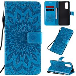 Embossing Sunflower Leather Wallet Case for Huawei Honor 30 Pro - Blue