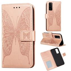 Intricate Embossing Vivid Butterfly Leather Wallet Case for Huawei Honor 30 Pro - Rose Gold