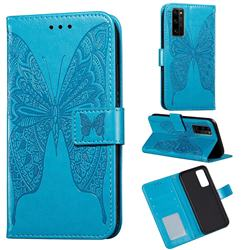 Intricate Embossing Vivid Butterfly Leather Wallet Case for Huawei Honor 30 Pro - Blue
