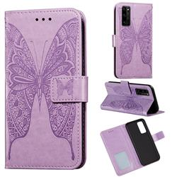 Intricate Embossing Vivid Butterfly Leather Wallet Case for Huawei Honor 30 Pro - Purple