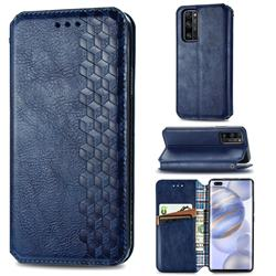 Ultra Slim Fashion Business Card Magnetic Automatic Suction Leather Flip Cover for Huawei Honor 30 Pro - Dark Blue