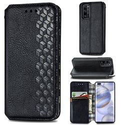Ultra Slim Fashion Business Card Magnetic Automatic Suction Leather Flip Cover for Huawei Honor 30 Pro - Black