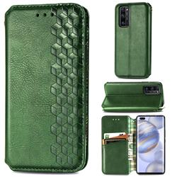 Ultra Slim Fashion Business Card Magnetic Automatic Suction Leather Flip Cover for Huawei Honor 30 Pro - Green