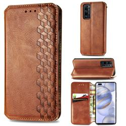 Ultra Slim Fashion Business Card Magnetic Automatic Suction Leather Flip Cover for Huawei Honor 30 Pro - Brown