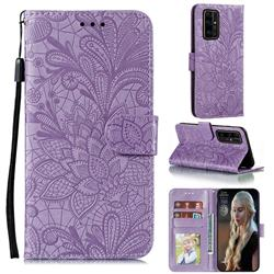 Intricate Embossing Lace Jasmine Flower Leather Wallet Case for Huawei Honor 30 Pro - Purple
