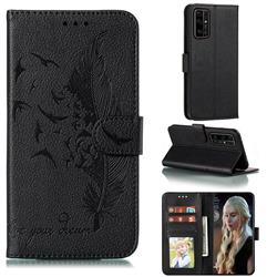 Intricate Embossing Lychee Feather Bird Leather Wallet Case for Huawei Honor 30 Pro - Black