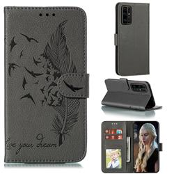 Intricate Embossing Lychee Feather Bird Leather Wallet Case for Huawei Honor 30 Pro - Gray