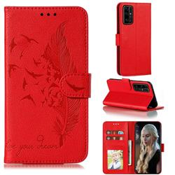 Intricate Embossing Lychee Feather Bird Leather Wallet Case for Huawei Honor 30 Pro - Red