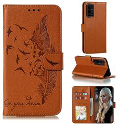 Intricate Embossing Lychee Feather Bird Leather Wallet Case for Huawei Honor 30 Pro - Brown