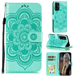 Intricate Embossing Datura Solar Leather Wallet Case for Huawei Honor 30 Pro - Green