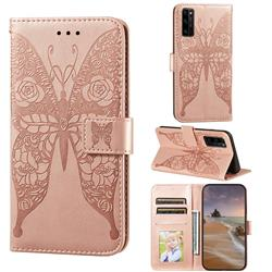 Intricate Embossing Rose Flower Butterfly Leather Wallet Case for Huawei Honor 30 Pro - Rose Gold