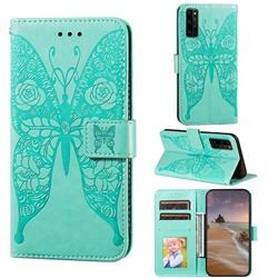 Intricate Embossing Rose Flower Butterfly Leather Wallet Case for Huawei Honor 30 Pro - Green